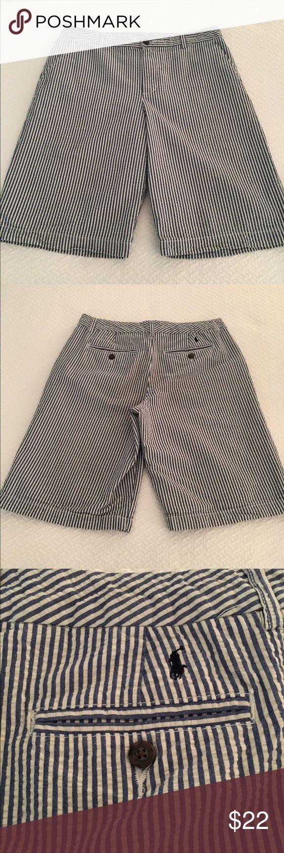 Polo by Ralph Lauren seersucker shorts Blue and white striped, flat front, seersucker shorts - in excellent condition! Polo by Ralph Lauren Bottoms Shorts