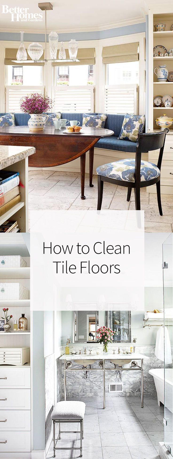 Cleaning tile floors and ceramics just got easier, thanks to these tips and tricks for how to clean tile floors like a pro. Use these techniques on the floors in kitchens or bathrooms to keep grout clean and to get rid of residue. Your tile will look brand new!