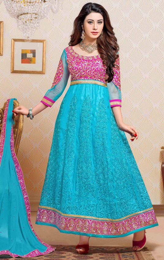 USD 54.65 Turquoise Net Ankle Length Anarkali Suit 44450