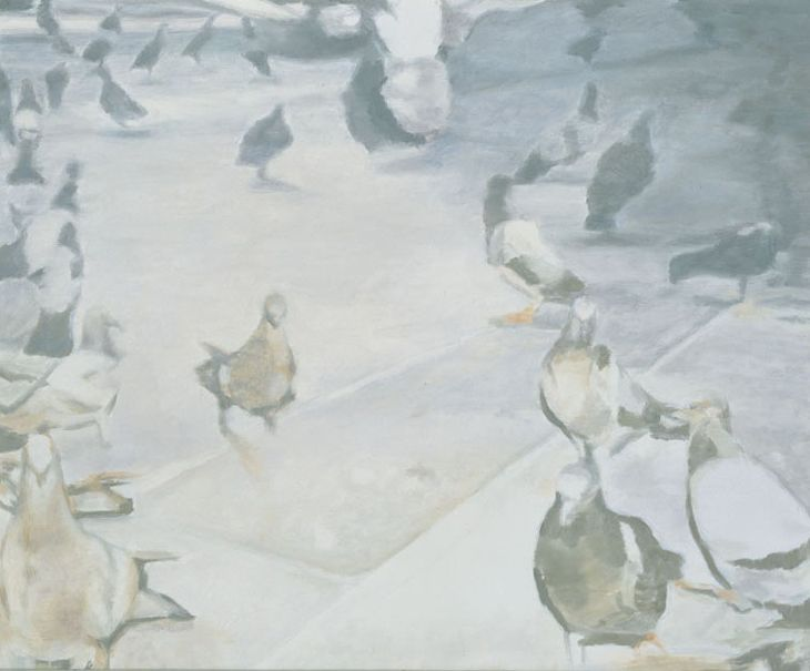 Luc Tuymans, Pigeons, 2001, Oil on canvas, 128 cm x 156 cm - pigeons and doves in fine art