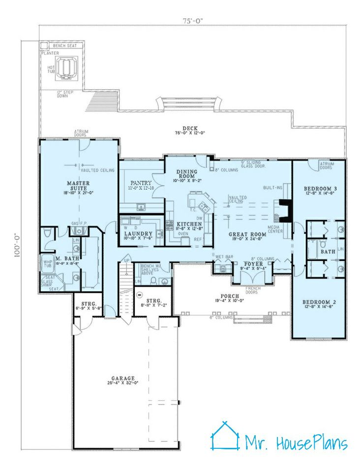 Custom House Plan 0001 Minus The Atrium Doors In The Bedroom Home Floor Plans Pinterest