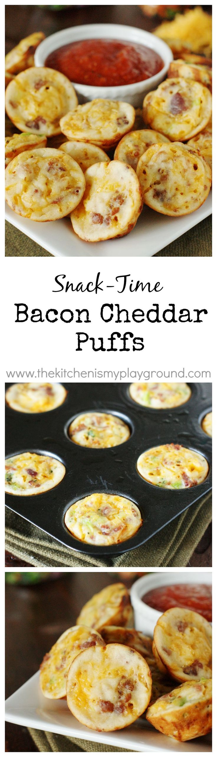 Bacon Cheddar Puffs ~ Perfect for easy snacking! Snack time. Game time. Party time. Or even breakfast! Freeze to have on hand for anytime. #ad www.thekitchenismyplayground.com