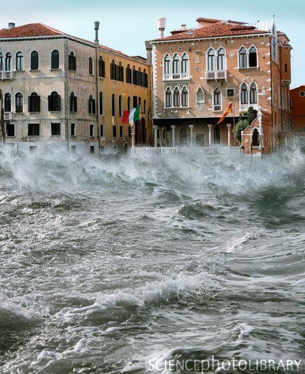 Storm in Venice.  Fortunately, I've never been there in conditions like this!  Acqua alta, ok, but not waves!