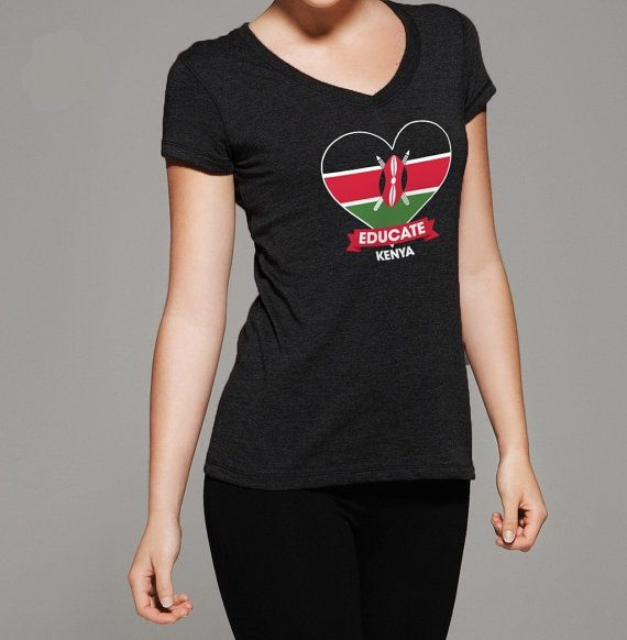 Educate Kenya Tshirt HEART  all proceeds by MegansCozyCreatives, $15.00