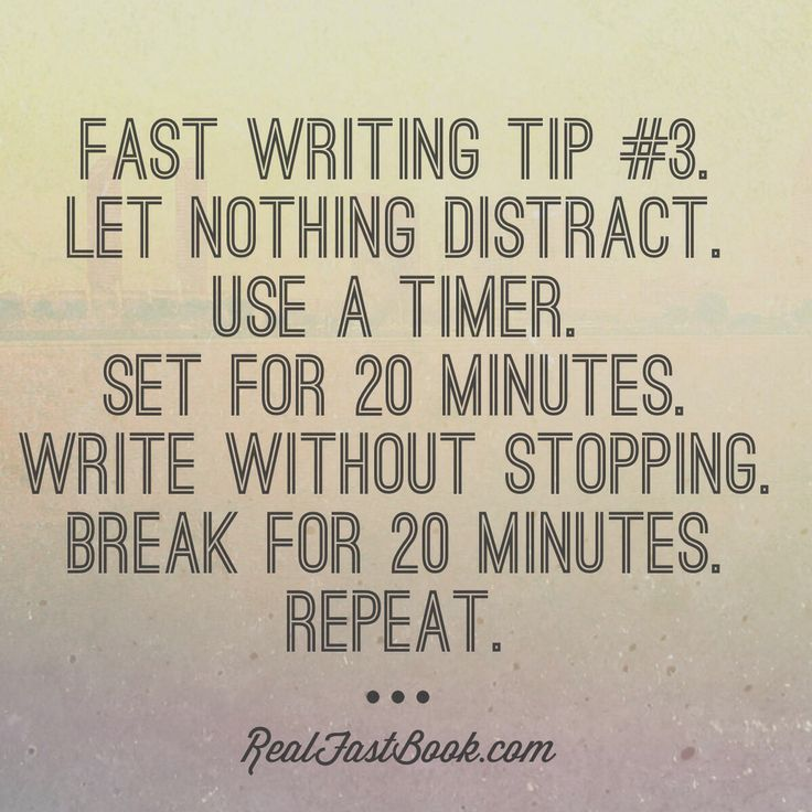 tips for writing a novel fast