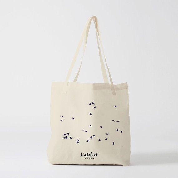X78Y Tote bag vol oiseau, sac en toile, sac coton, sac à langer, sac à main, sac fourre-tout, sac de course, sac de cours, sac ordi, shoppin