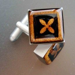Rich amber coloured Kauri Cufflinks