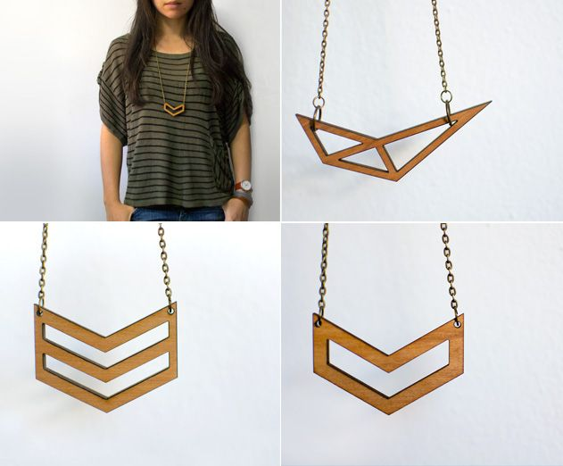 Little Red Lantern - Laser cut modern wooden jewelry