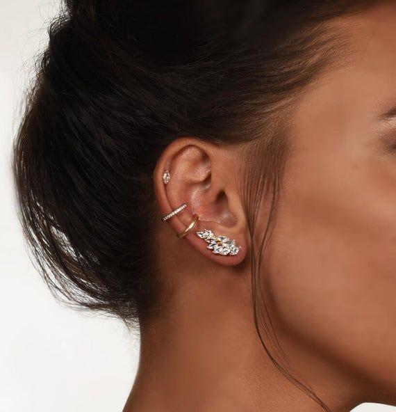 Gold ear climber, Leaf Ear Climber, leaf earrings, diamond earrings, silver earrings, ear crawlers, gift for her