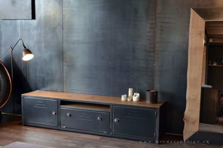 les 18 meilleures images propos de meubles tv en bois et m tal de style industriel sur. Black Bedroom Furniture Sets. Home Design Ideas