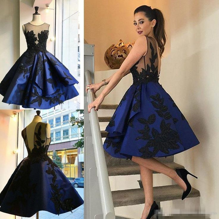 2016 Royal Blue Cocktail Dresses Short Sheer Jewel Neckline Appliqued Beaded Formal Prom Party Gowns Knee Length Evening Dress For Women Girls Party Dresses Uk Glitter Party Dresses From Whiteone, $113.18| Dhgate.Com