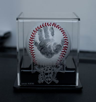 Baptism gift for godfather. Handprint baseball.