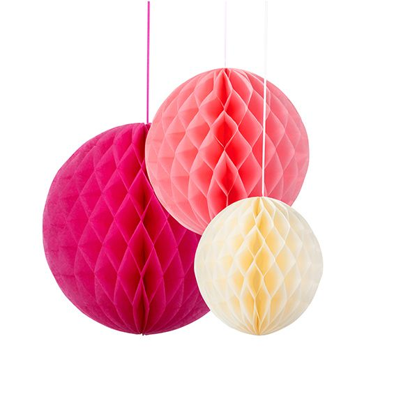 Trio of honeycomb balls - hanging wedding decorations blossom
