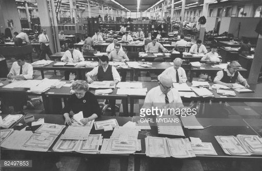 Employees working at the Guaranty Trust Company.