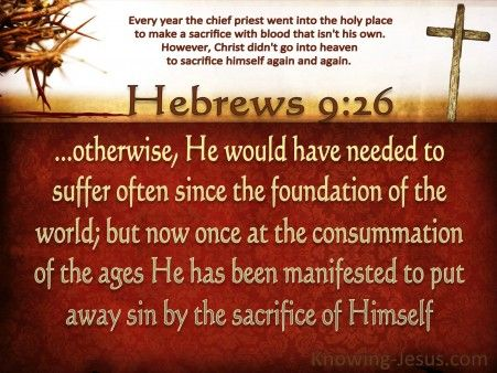 Hebrews 9-26 He Appeared To Put Away Sin brown - Christian Wallpapers