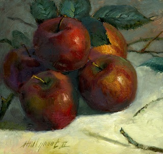 "Apples With AppleTree Branches & Leaves 8x8"" by Hall Groat II"