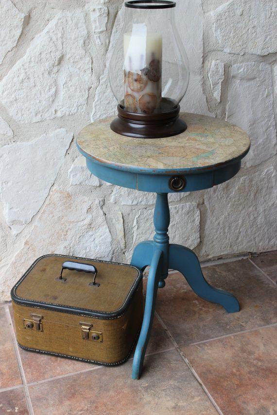Mejores 18 imgenes de aubusson en pinterest ideas de muebles vintage world map distressed decoupaged round end table annie sloan aubusson blue on etsy 12500 gumiabroncs Image collections