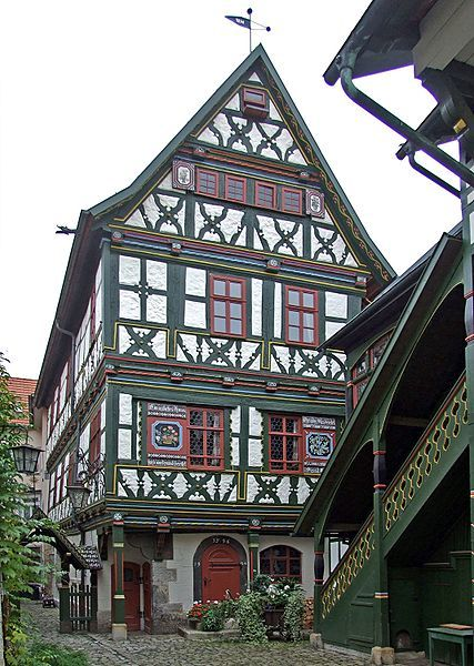 Buechnersches Hinterhaus, a beautifully half-timbered house dating back to 1596 in Meiningen, Germany