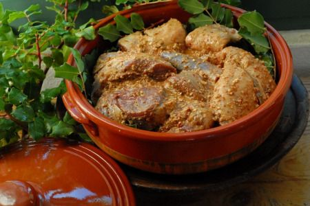 Lamb/goat slow-roasted in Clay Pot -with a kleftiko seasoning - a paula wolfert recipe