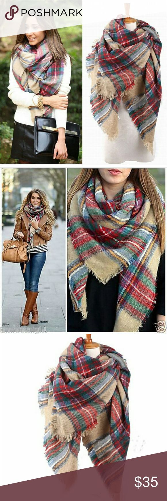 """NWT plaid tartan blanket scarf Gorgeous warm scarf perfect for fall and winter. Measures 55"""" x 55"""". Colors as shown. Ask about bundles! :) Boutique  Accessories Scarves & Wraps"""