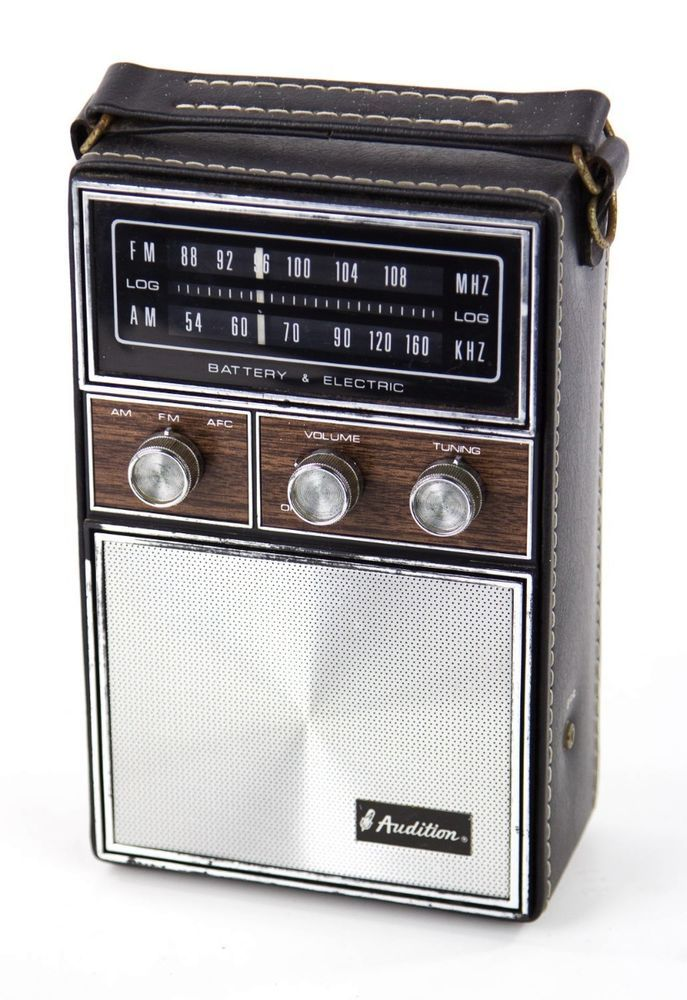 vintage audition silver faux wood leather portable am fm radio hong kong works audition. Black Bedroom Furniture Sets. Home Design Ideas