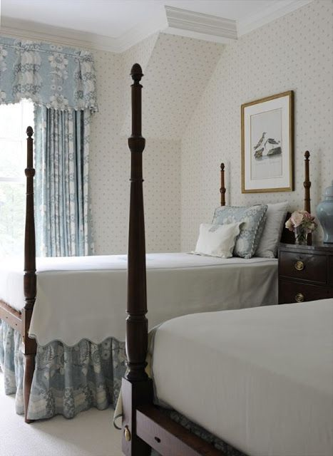 Traditional Blue and White Bedrooms