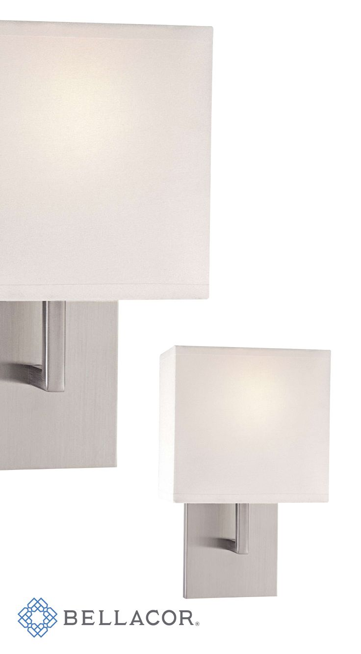george kovacs sconces brushed nickel onelight wall sconce with white fabric shade - George Kovacs Lighting