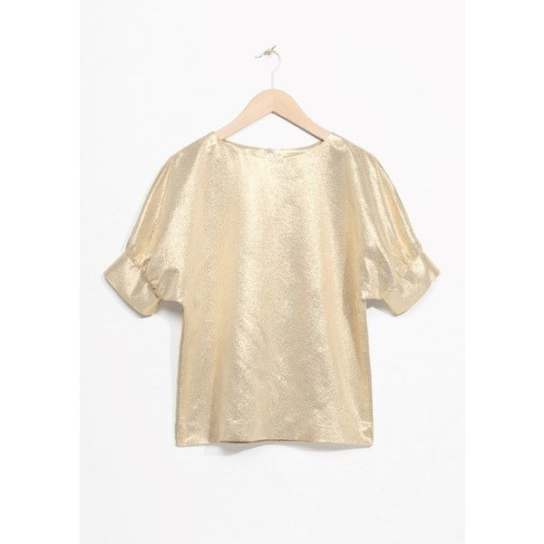 Metallic Puff Blouse ($62) ❤ liked on Polyvore featuring tops, blouses, puff blouse, metallic top, metallic blouse and puff top