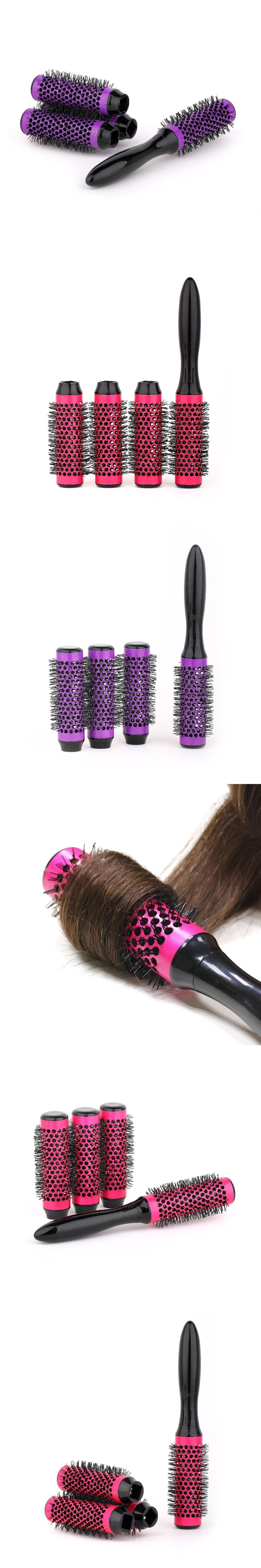 Barber Professional Salon Round Hair Brush 4 rollers Removable Curling Hair Brush Ceramic Hairdressing Salon Styling Tools