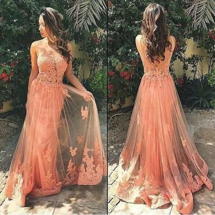Round neck prom dress,a line tulle prom dress,evening dress,formal dress,long prom dress,applique formal gowns,peach prom dress