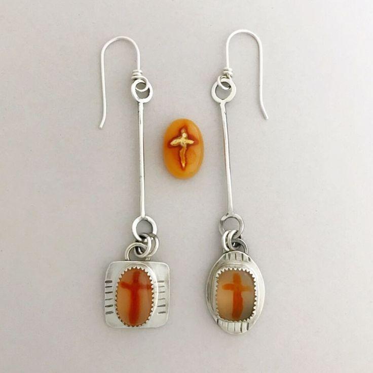 Agate earrings set in sterling. Sisters of the Sun. #handmade #sterlingsilver