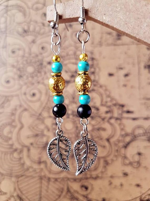 Check out this item in my Etsy shop https://www.etsy.com/au/listing/529605282/earthy-turquoise-and-gold-leaf-drop