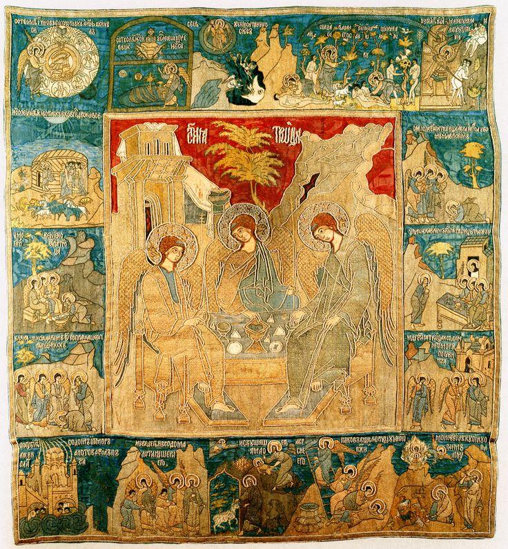 Пелена Святая Живоначальная Троица с деяниями (1592-1593), 118 х 133 см, Матрена Годунова, ГММК