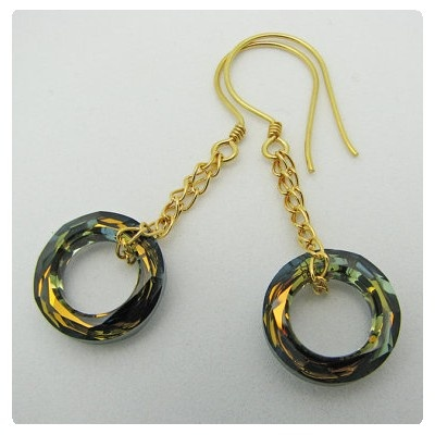 Swarovski Elements #4139 Cosmic Ring fülbevalók Crystal Tabac színben