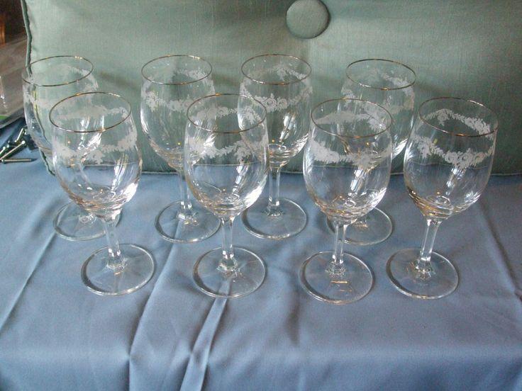 8 Johann Haviland Crystal 6.5 Wine Glasses Sweetheart Rose ...