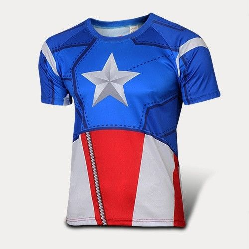 Captain America Quick-dry Sports T-shirt, Breathable Short Sleeve T-shirt For Outdoor Sports.
