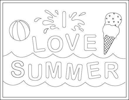 I Love Summer Zomer Kleurplaten Pinterest I Love Free Printable Summer Coloring Pages
