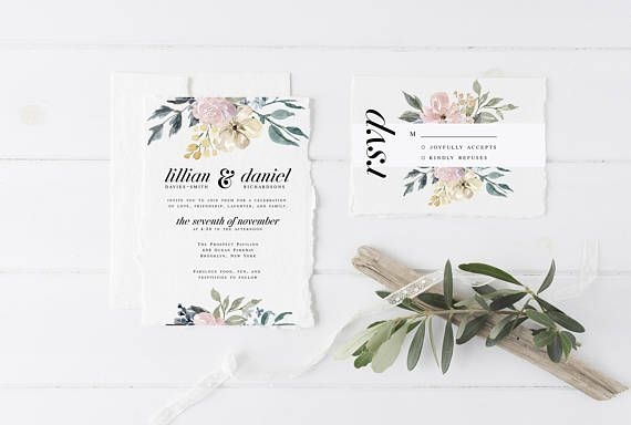 Floral Wedding Invitation Suite the Anita Suite Elegant