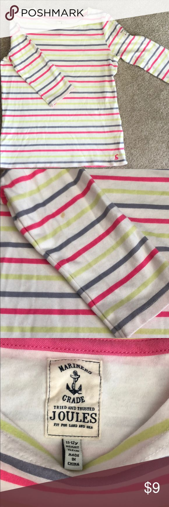 Joules 3 quarter stripped sleeve t shirt 11-12y ✨ ✨can add to bundle for 3 for $12✨ See picture for 2 small stains on back of sleeves Joules Shirts & Tops Tees - Long Sleeve