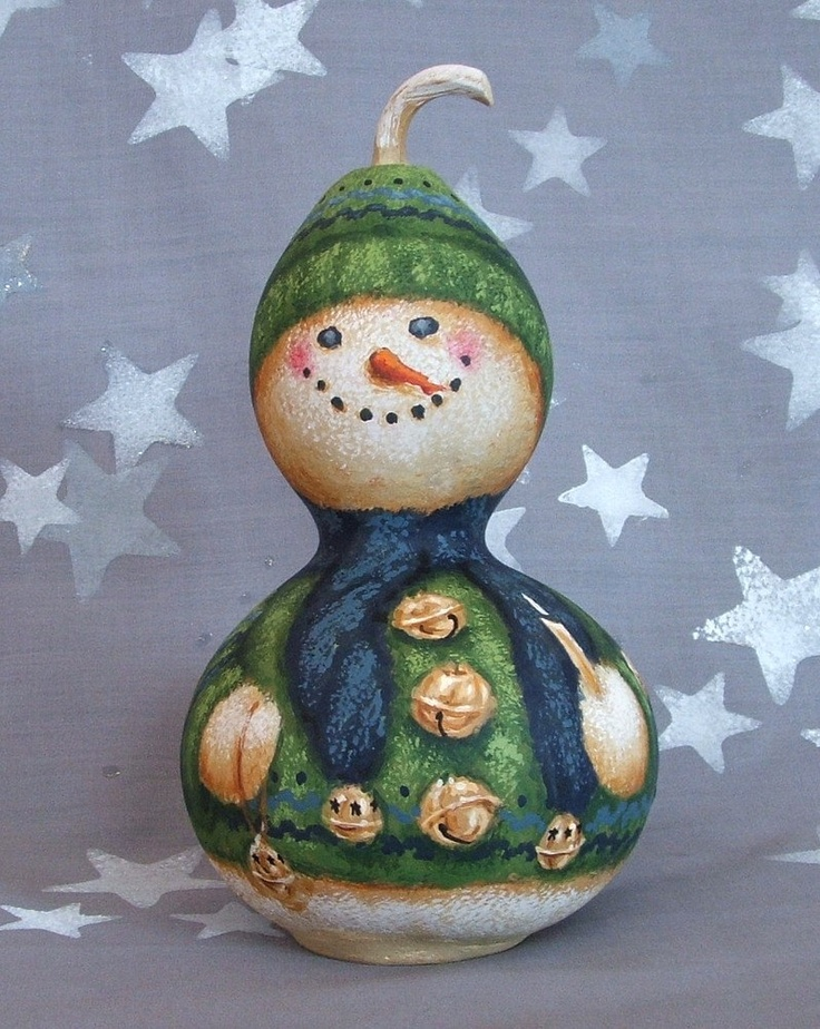 Jingle, hand painted snowman gourd, 7 inches tall. $55.00, via Etsy.