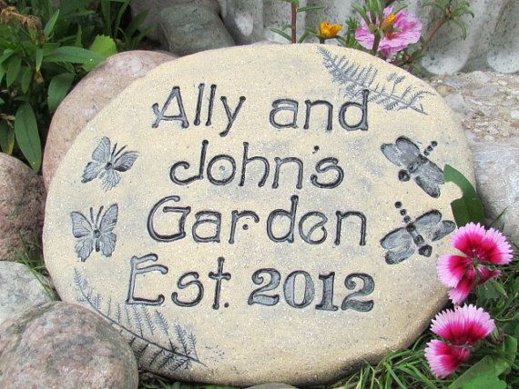 "Personalized Garden stones - Your choice of natural designs - Ferns, Butterflies, dragonflies, hummingbirds carved ""in stone"" terracotta"