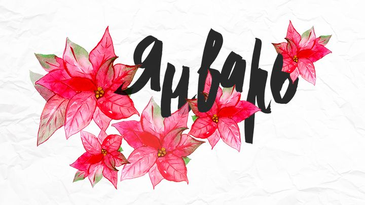 Рождественская звезда, wallpaper, January, watercolor, обои, акварель, каллиграфия, calligraphy, саша панфилова, sashapanfilova