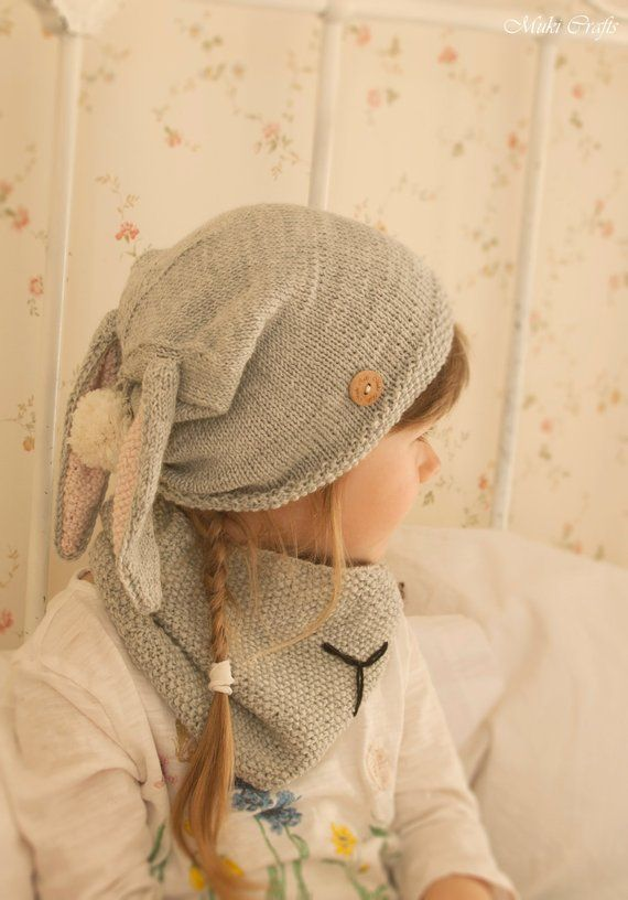 Chunky knit winter hat ADULT sized Bunny ears