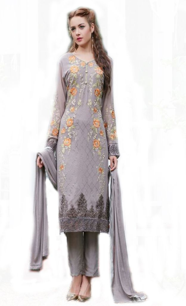 Rabia Grey Color Georgette Designer Long Suit