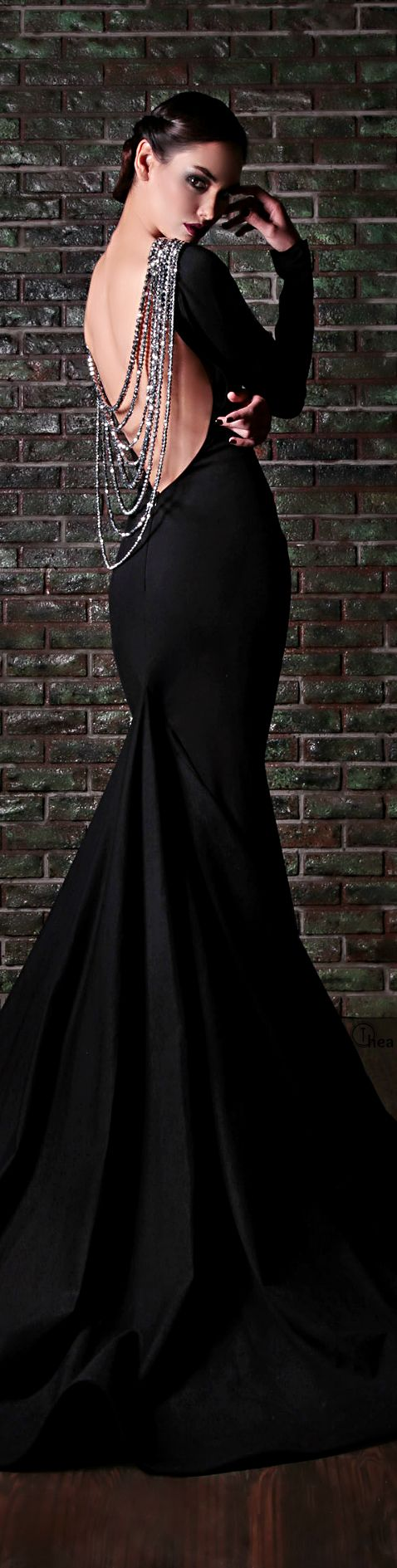 13 Most Beautiful Long Black Dresses From RAMI KADI, click to see all--I'll wear this one when you're superintendent :)