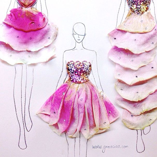 Artist Turns Real Flower Petals Into Fashion Design Illustrations | Bored Panda