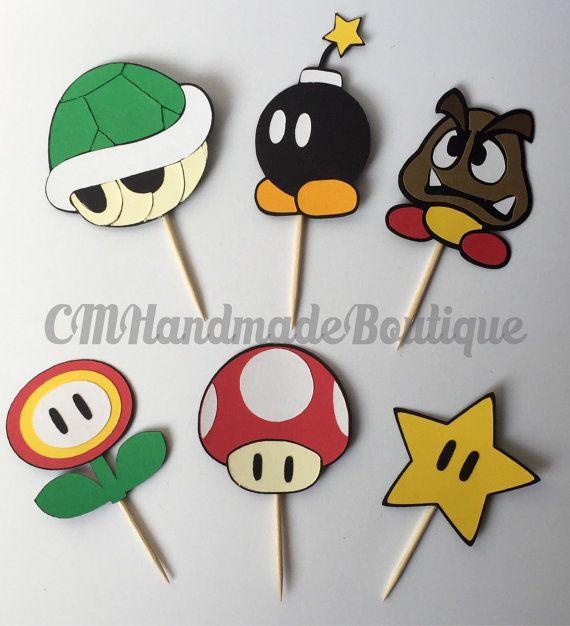 Super Mario Bros Cupcake Toppers por CMHandmadeBoutique en Etsy                                                                                                                                                                                 Más