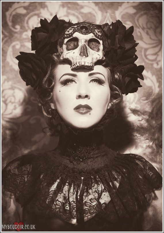 Day of the Dead Skull and Rose headdress / HysteriaMachine Etsy