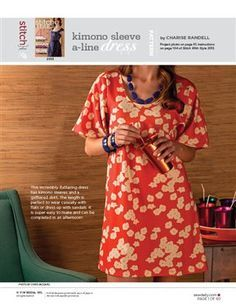 free Pattern: Kimono-Sleeve A-Line Dress - Media - Sew Daily This file contains pattern pieces only. Project instructions are in Stitch With Style's 2013 issue. This incredibly flattering dress has kimono sleeves and a gathered skirt.