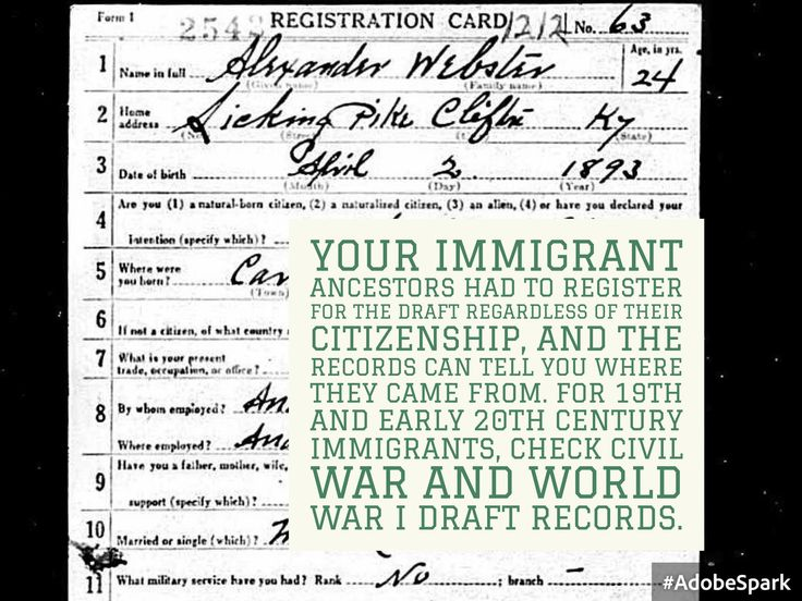 Hot Tip Tuesday! Your immigrant ancestors had to register for the draft regardless of their citizenship, and the records can tell you where they came from. For 19th and early 20th century immigrants, check Civil War and World War I draft records. #genealogy #draft #WWI